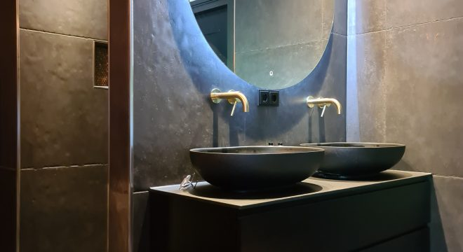 Wasmeubel in badkamer Drogeham